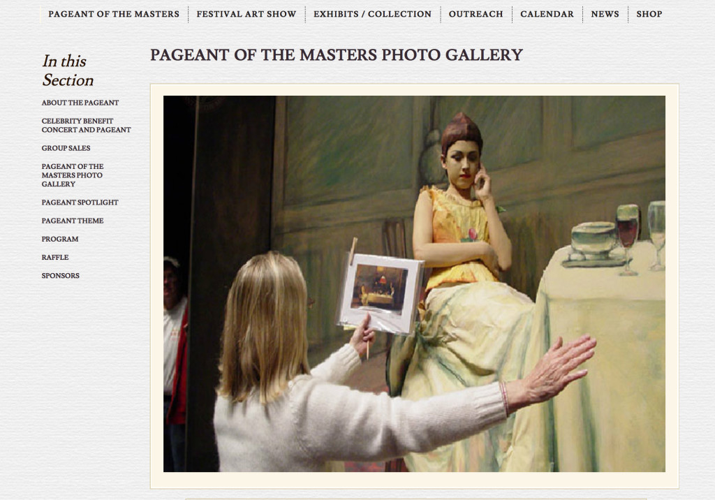 One of the photos from The Pageant of the Masters web site  https://www.foapom.com/pageant-of-the-masters/photo-gallery/